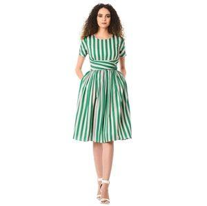 Green Stripe Waist Dress